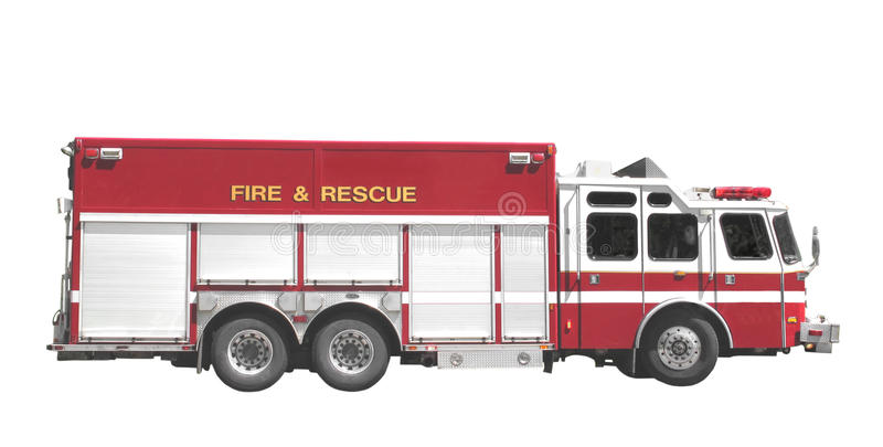 Fire and rescue truck isolated. Large red and white fire department fire and rescue truck. Isolated on white royalty free stock images