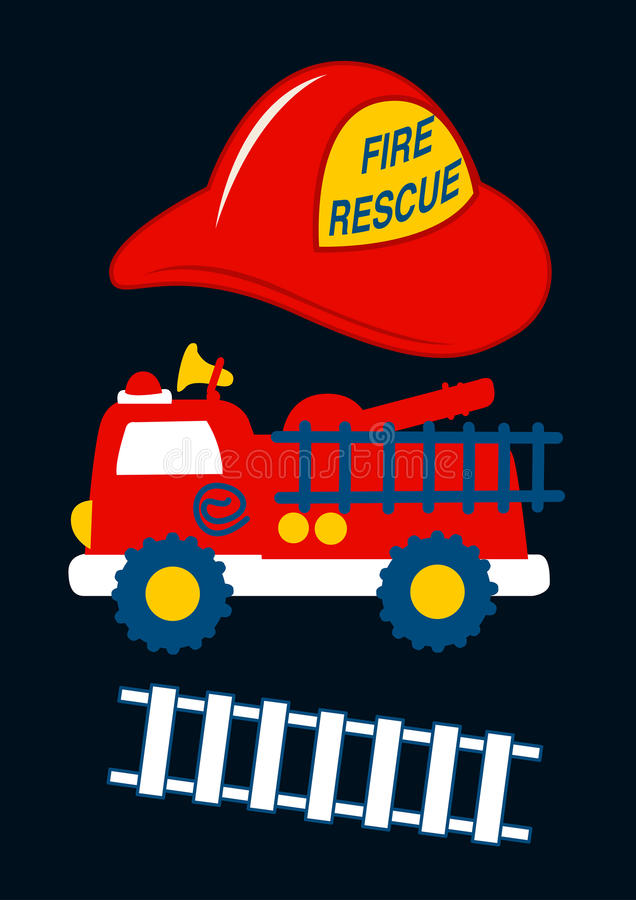 Free Fire Rescue With Red Helmet And Truck Stock Images - 66119374