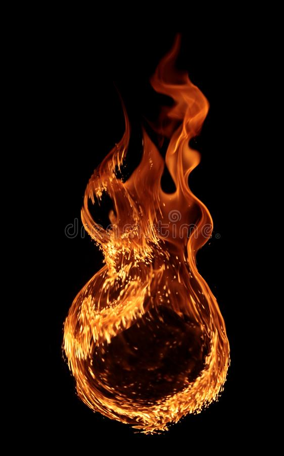 Fire - a ring created by the flame and large burning flames. On a black background royalty free stock photos