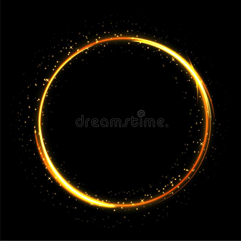 Light sparkling circle on black background. Fire ring glowing trace. Vector fire gold circle. stock illustration