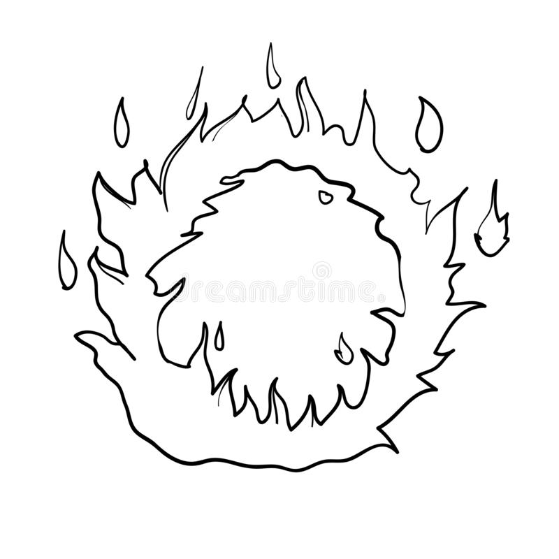 Fire ring handdrawn burning flame illustration vector doodle style. Isolated stock illustration
