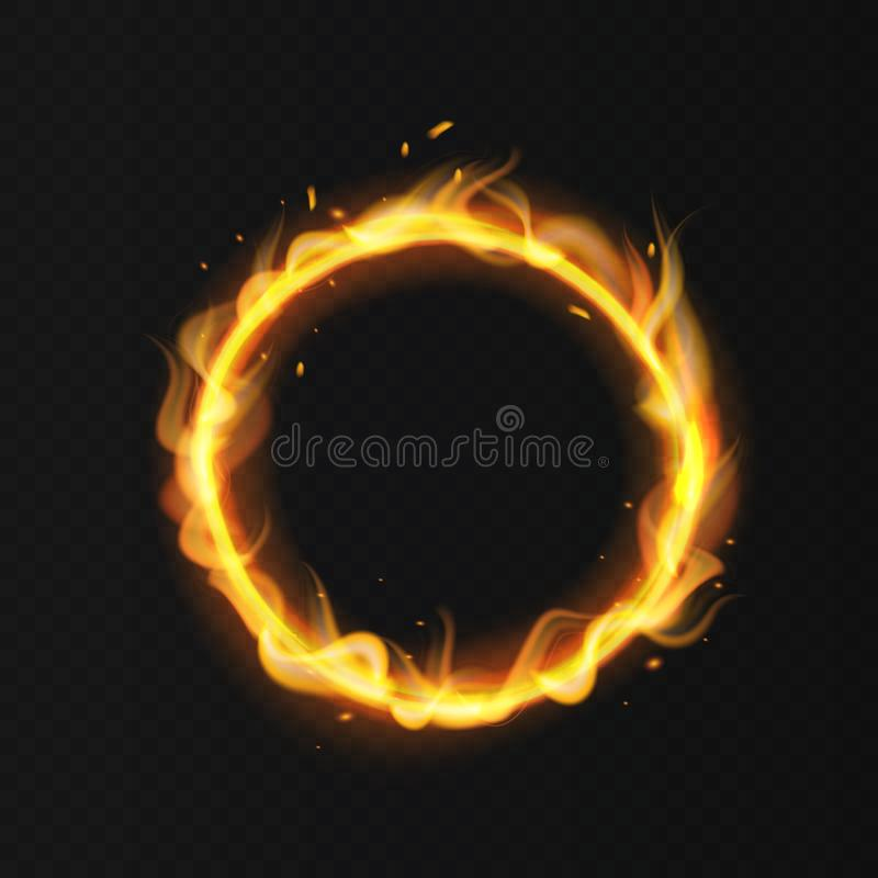 Fire ring. Realistic burning fiery circus circle hot hoop warm fire blazing effect red flaming isolated vector. Fire ring. Realistic burning flame. Fiery circus stock illustration