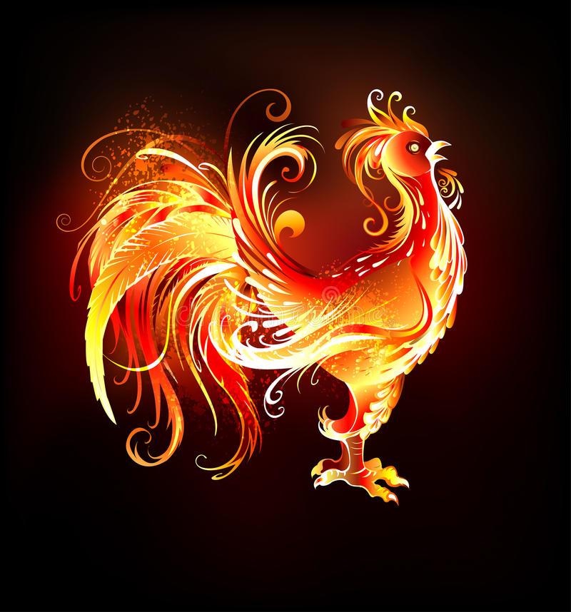 Fire rooster. Artistically painted, bright fire rooster on a black background. Symbol 2017