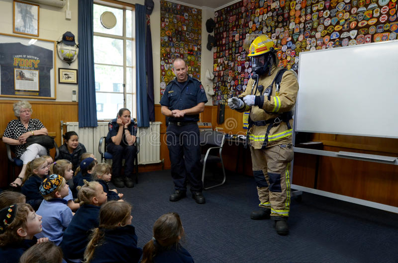 Fire Safety Education day. AUCKLAND - OCT 27 2015:Fire Safety Education day in Auckland City Fire Station, New Zealand.Each year over 20,000 fires are attended stock photo