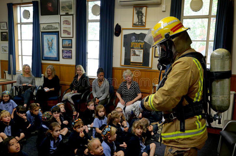 Fire Safety Education day. AUCKLAND - OCT 27 2015:Fire Safety Education day in Auckland City Fire Station, New Zealand.Each year over 20,000 fires are attended stock photography