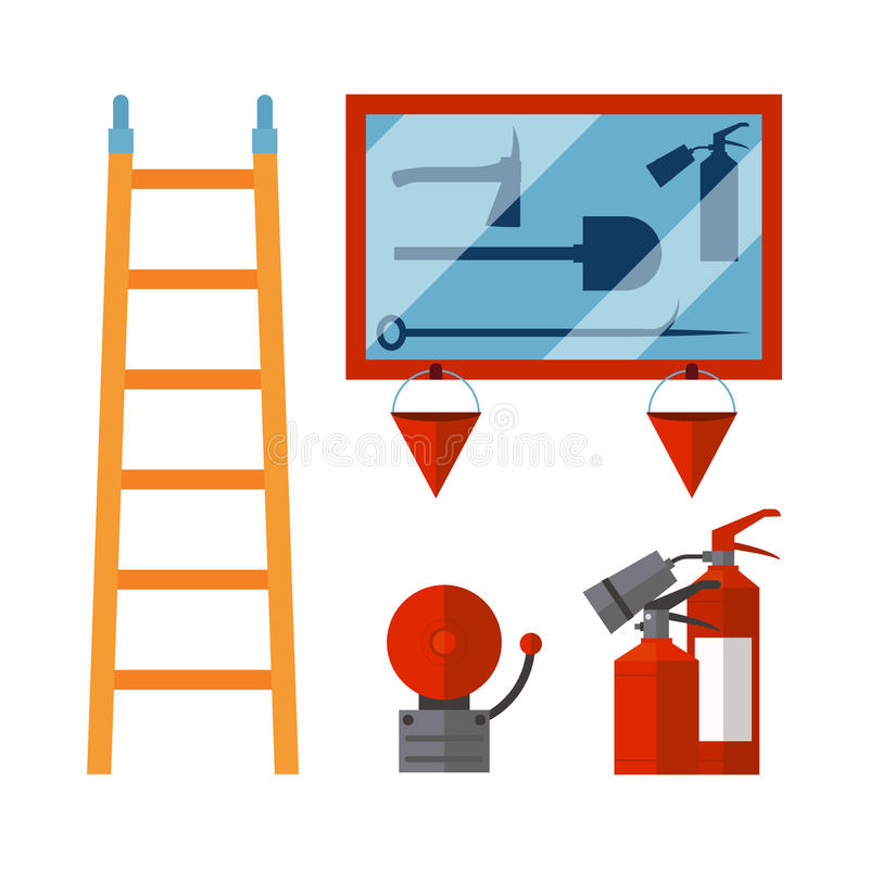 Fire safety equipment emergency tools firefighter safe danger accident flame protection vector illustration. Fire safety equipment emergency icons firefighter stock illustration