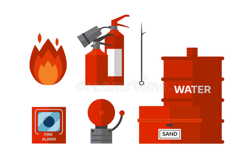 Fire safety equipment emergency tools firefighter safe danger accident flame protection vector illustration. stock illustration