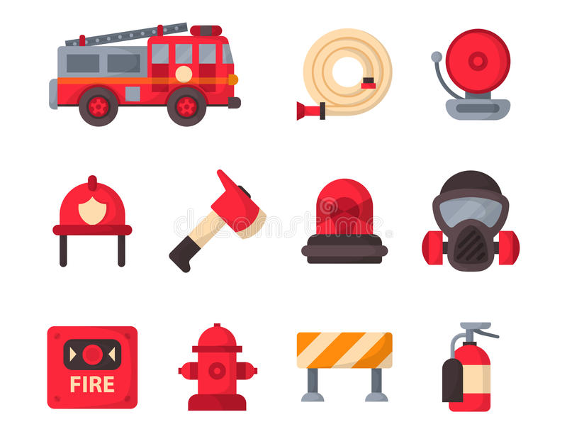 Fire safety equipment emergency tools firefighter safe danger accident protection vector illustration. Fire safety equipment emergency icons firefighter symbols vector illustration
