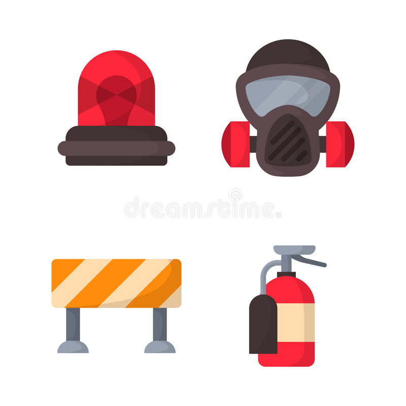 Fire safety equipment emergency tools firefighter safe danger accident protection vector illustration. Fire safety equipment emergency icons firefighter symbols royalty free illustration