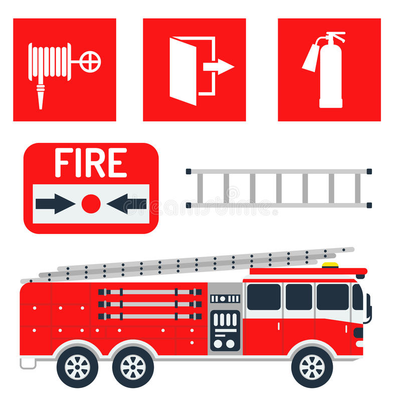 Fire safety equipment emergency tools firefighter safe danger accident protection vector illustration. stock illustration