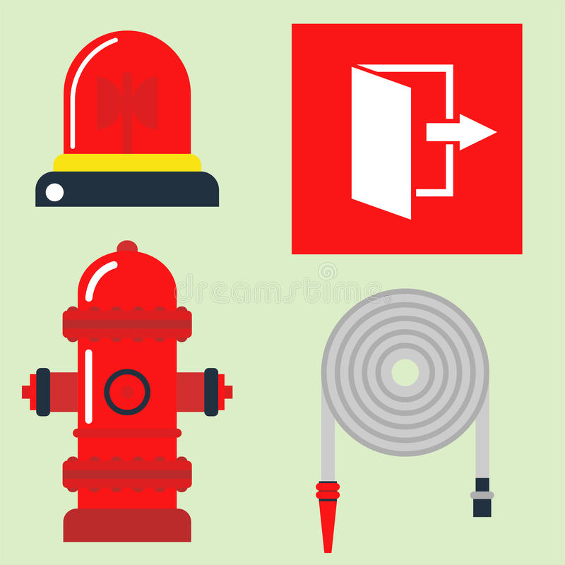 Fire safety equipment emergency tools firefighter safe danger accident protection vector illustration. Fire safety equipment emergency icons firefighter symbols stock illustration