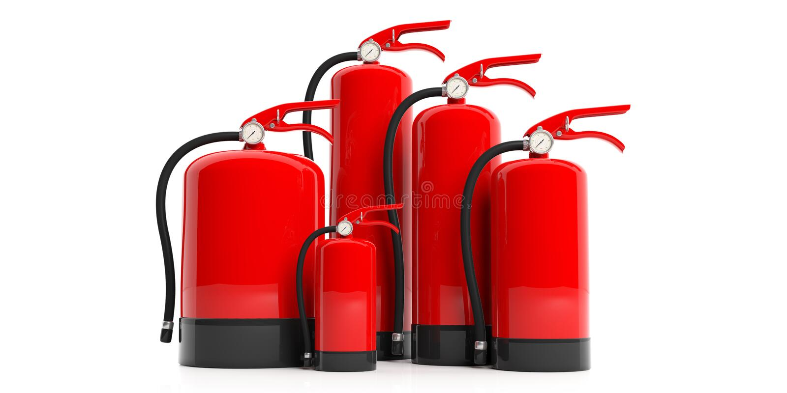 Fire extinguishers isolated on white background. 3d illustration. Fire safety, Group of red fire extinguishers, various sizes, isolated on white background. 3d royalty free illustration