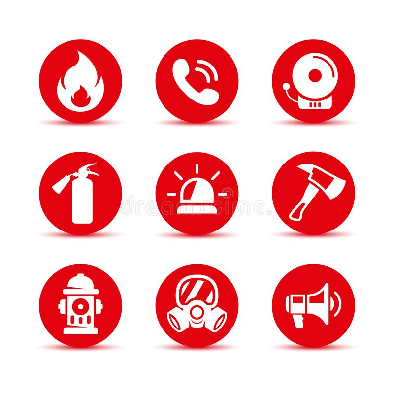 Fire safety icons set. Fire emergency icons set. Vector signs vector illustration