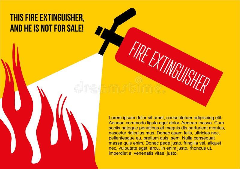 Fire safety poster. eliminate fire extinguisher. Vector illustration stock illustration