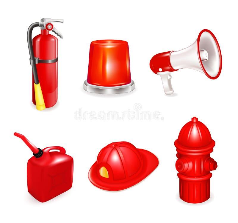 Fire safety, set vector illustration
