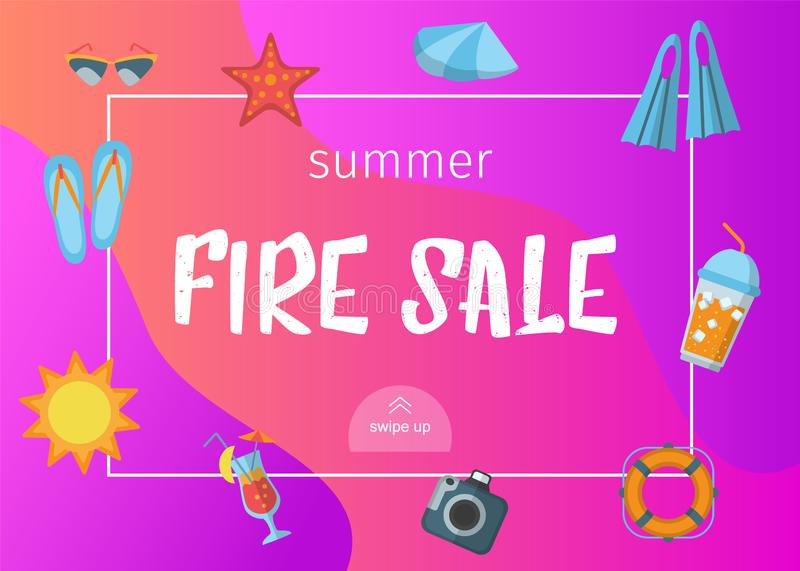 Fire sale banner with beach vacation accessories stock illustration