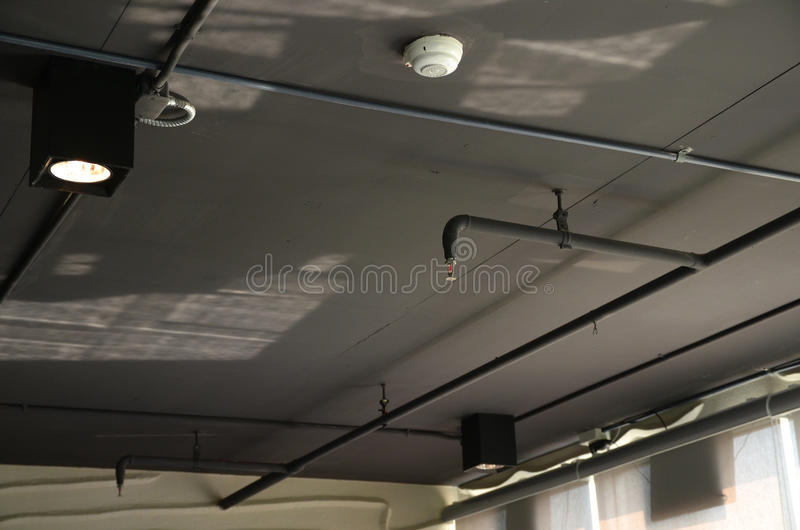 Fire security and Sprinkler. Equipment, security and fire sprinkler royalty free stock images