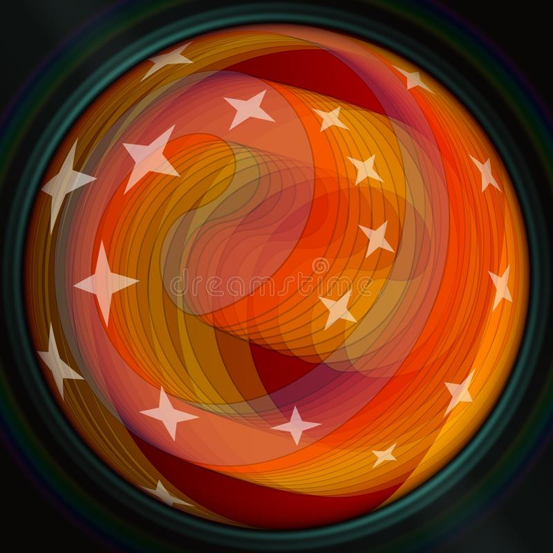 Fire semitransparent orange spiral with stars on black background, blank modern abstract background for own text, message royalty free illustration