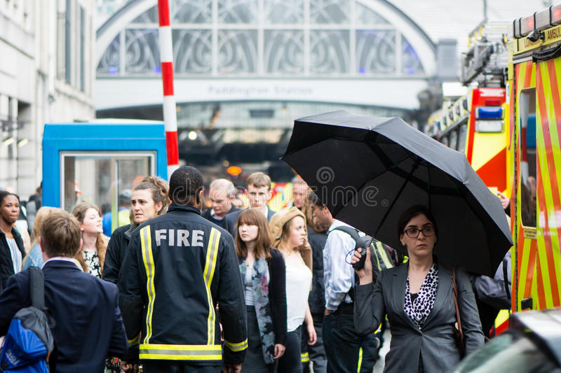 Fire services attend incident outside Paddington Station. LONDON, UK - JUNE 16 2016 Emergency services respond to derailed train at peak commuter time at one of royalty free stock image