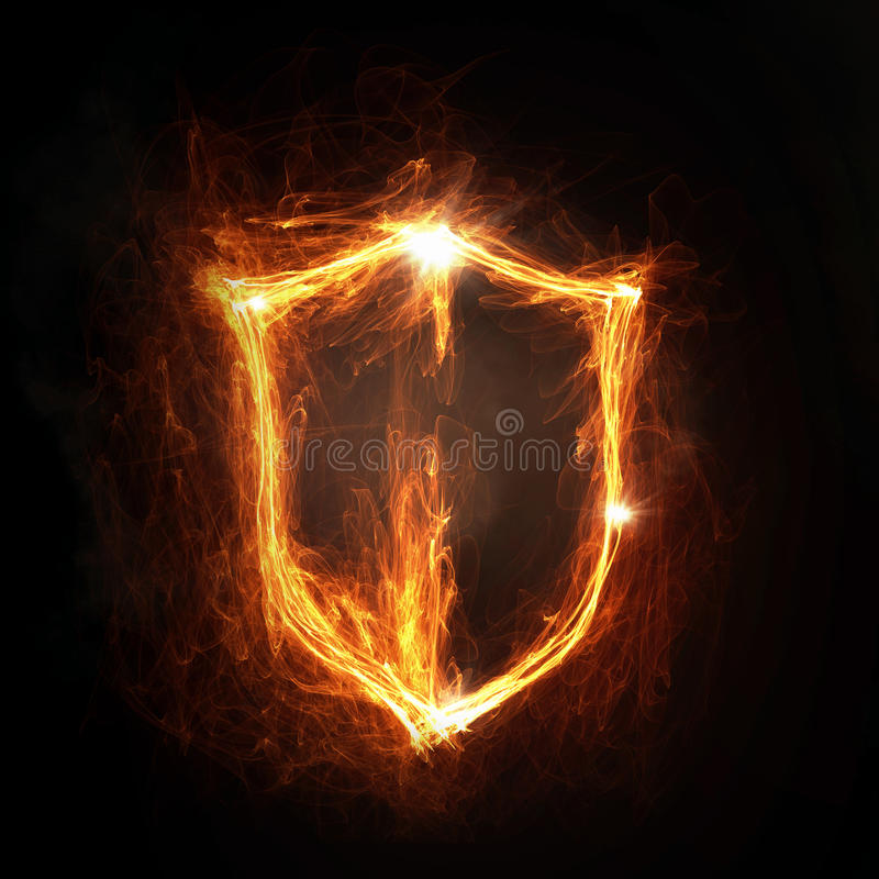 Fire shield icon. Glowing fire shield icon on dark background royalty free stock photography