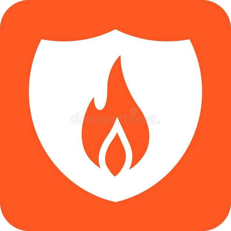 Fire Shield. Fire, shield, safety icon vector image. Can also be used for firefighting. Suitable for web apps, mobile apps and print media royalty free illustration
