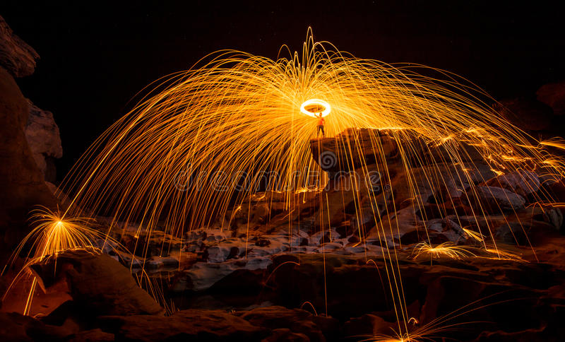 Fire show amazing at night royalty free stock photo