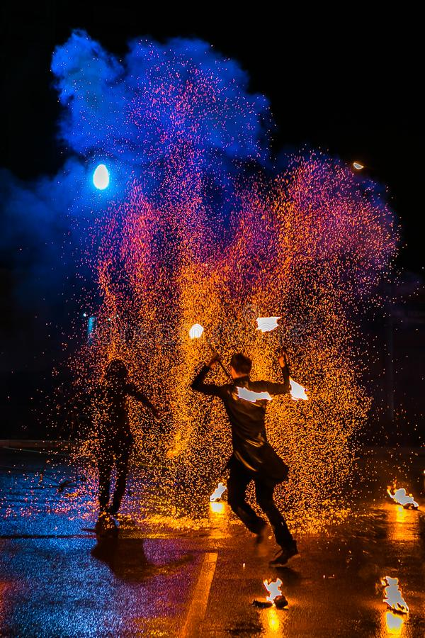 Fire show amazing at night in wedding party stock photography