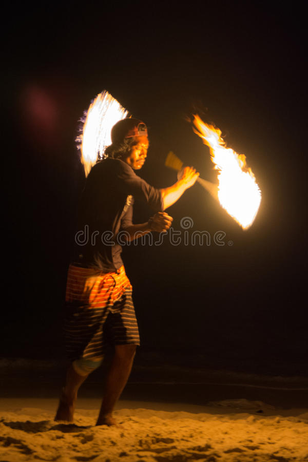 Fire show. FIre juggler performing fire show. Picture taken on Perhentian Kecil island, Malaysia stock photos