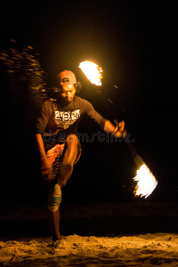 Fire show. FIre juggler performing fire show. Picture taken on Perhentian Kecil island, Malaysia royalty free stock photography