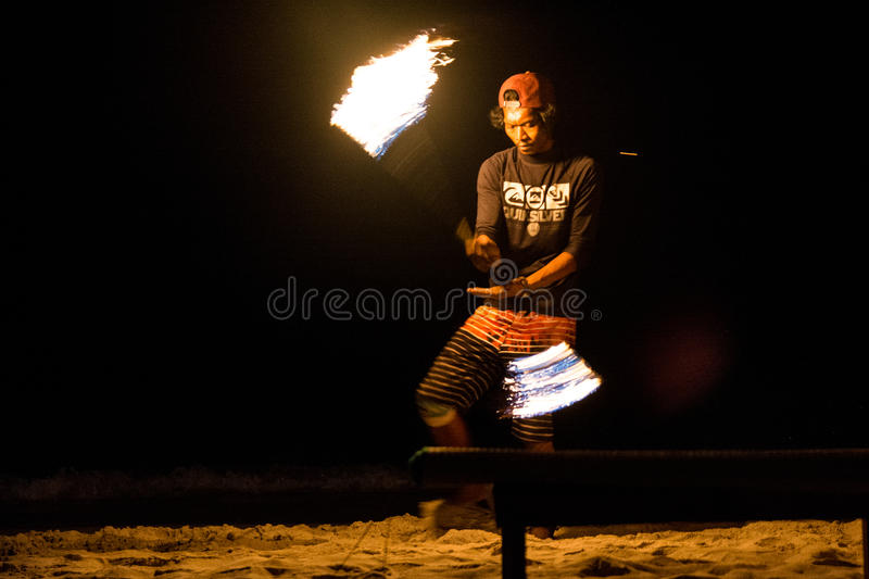 Fire show. FIre juggler performing fire show. Picture taken on Perhentian Kecil island, Malaysia royalty free stock image