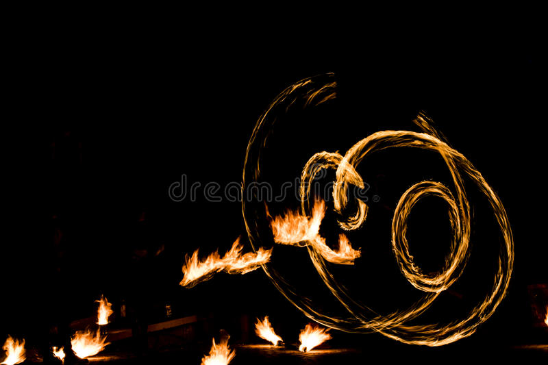 Fire show and a lot of the bright sparks in the night.  stock photos