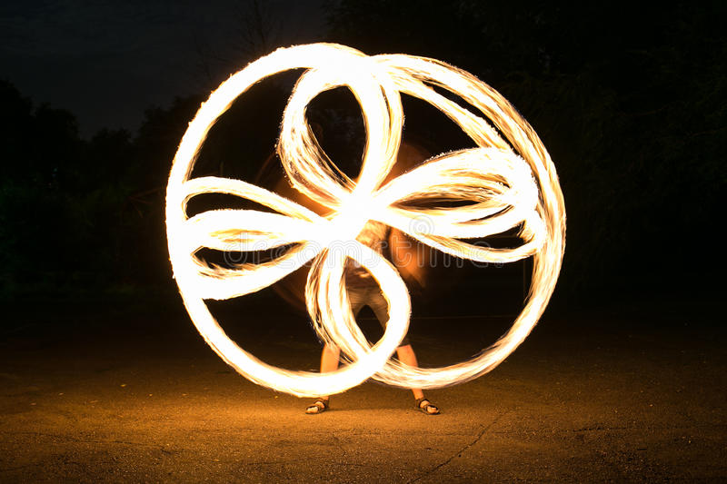 Fire-show man in action. In night time stock photo