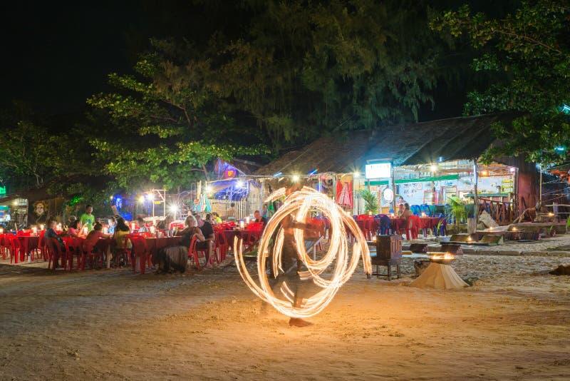 Fire Show at night on Pattaya beach in Koh Lipe Island royalty free stock image