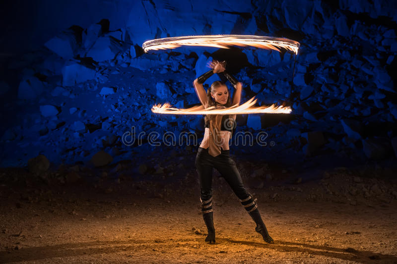 Fire show performance stock photography