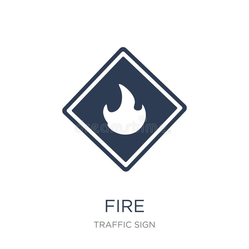 Fire sign icon. Trendy flat vector Fire sign icon on white background from traffic sign collection. Vector illustration can be use for web and mobile, eps10 royalty free illustration