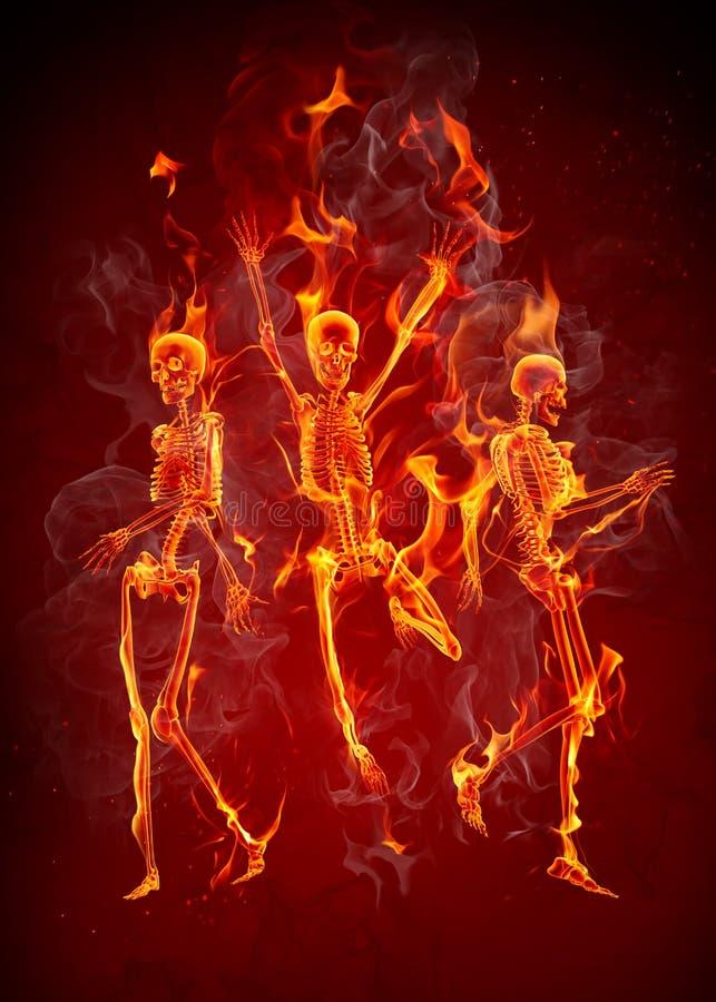 Fire skeletons royalty free illustration