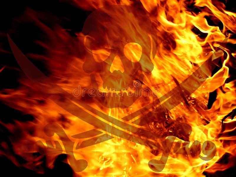 Fire skull and sabres royalty free stock photography