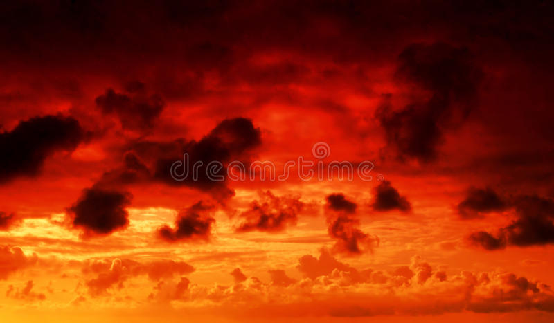 Fire in the sky stock images