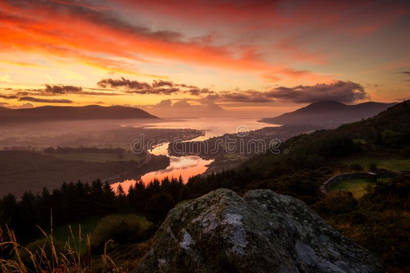 Fire in the Sky. Lovely blue hour sunrise at Flagstaff showing the sea at Warrenpoint. Newry, County Down, Northern Ireland, United Kingdom stock photos