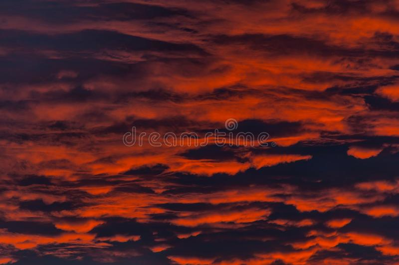 Fire in the sky. Red sunset with clouds. Background of the blood red evening sky and clouds. Sunset and cloudy sky with clouds in different forms stock image