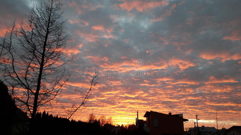 Fire on the sky royalty free stock image