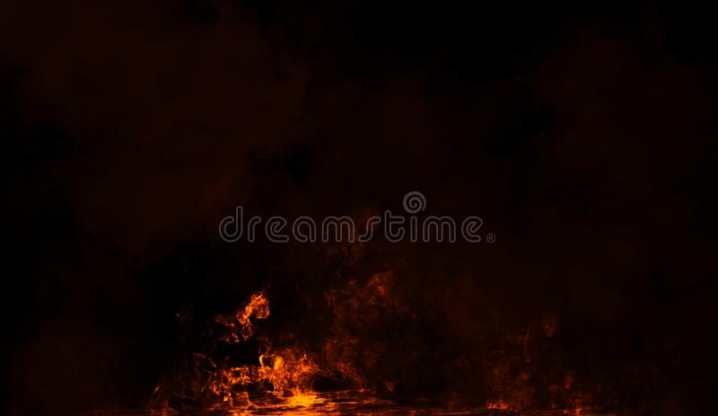 Fire smoke on isolated black background. Design element. Fire smoke on isolated black background. Design texture element royalty free stock photo