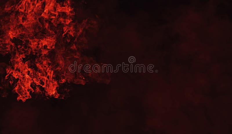 Fire smoke on isolated black background. Design texture. Element stock photo