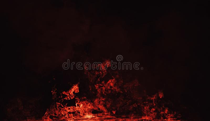 Fire smoke on isolated black background. Design texture. Element stock images