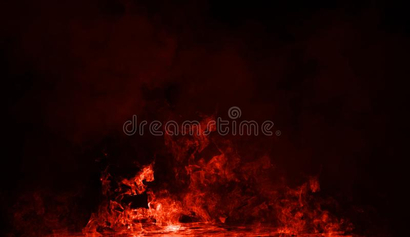 Fire smoke on isolated black background. Design texture. Element royalty free stock images