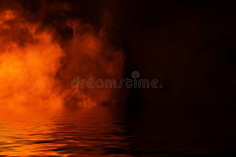 Fire smoke with reflection in water. Mistery fog texture background. Fire smoke with reflection in water. Mistery fog texture overlays background vector illustration