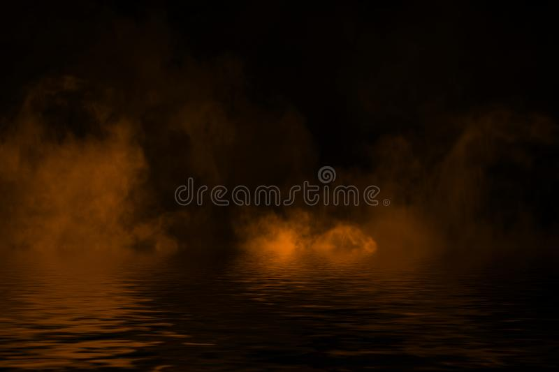 Fire smoke with reflection in water. Mistery fog texture background. Fire smoke with reflection in water. Mistery fog texture overlays background royalty free illustration
