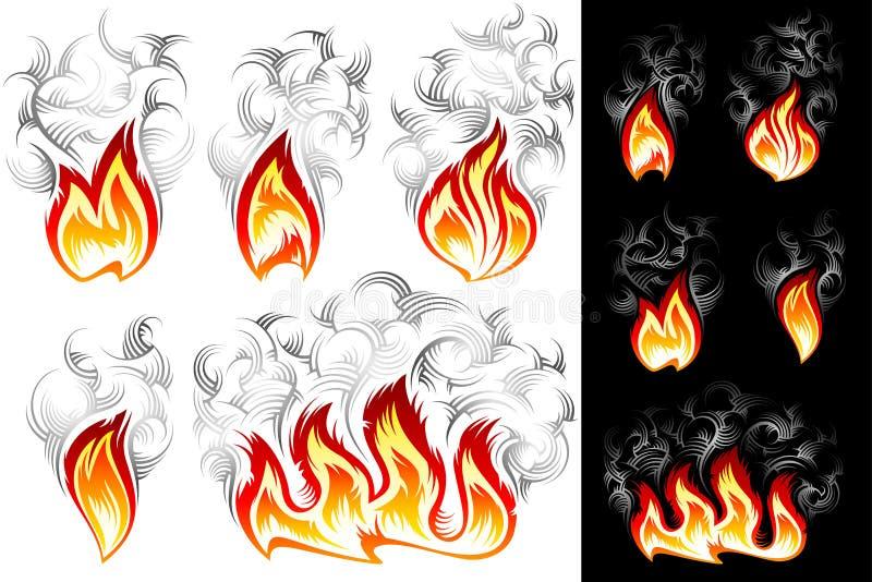 Fire Smoke Spurt Flame Burning Color Ink Icon Set vector illustration