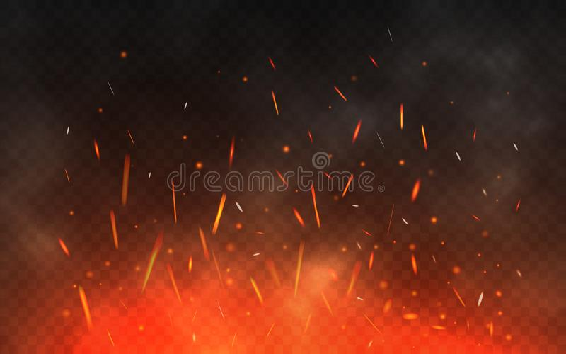 Fire sparks flying up. Glowing particles on a transparent background. Realistic fire and smoke. Red and yellow light. Effect. Vector illustration royalty free illustration
