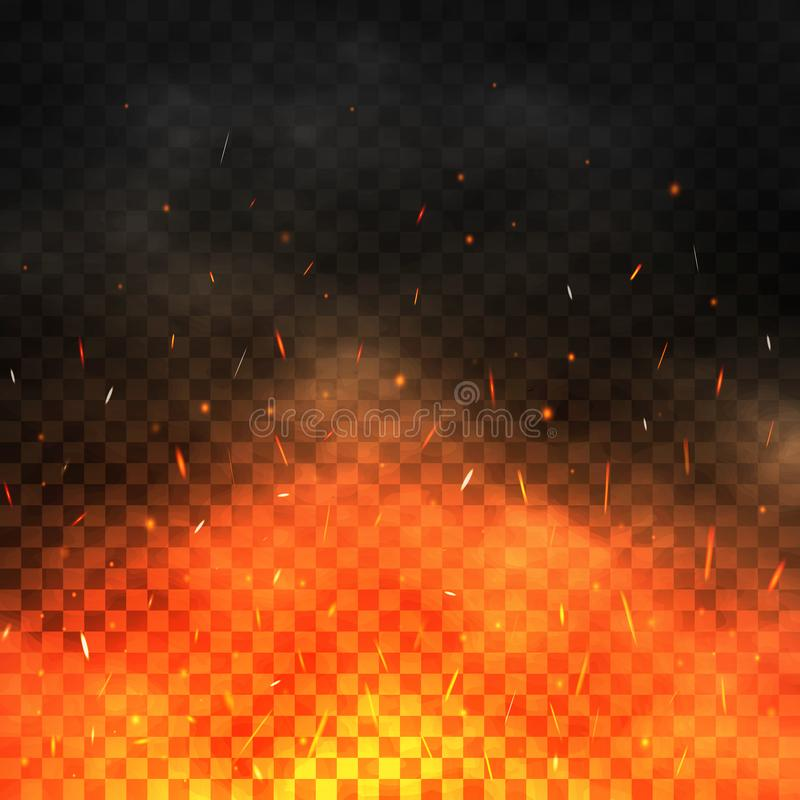 Fire sparks flying up. Realistic fire and smoke. Glowing particles on a transparent background. Bonfire with red and stock illustration